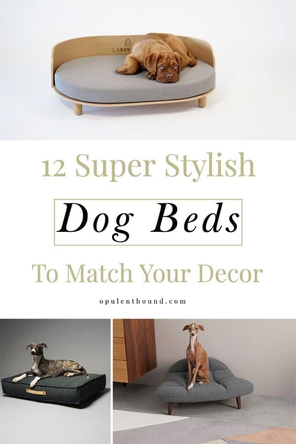Pinnable image with collage of designer dog beds with text overlay - 12 Super stylish dog beds to match your decor