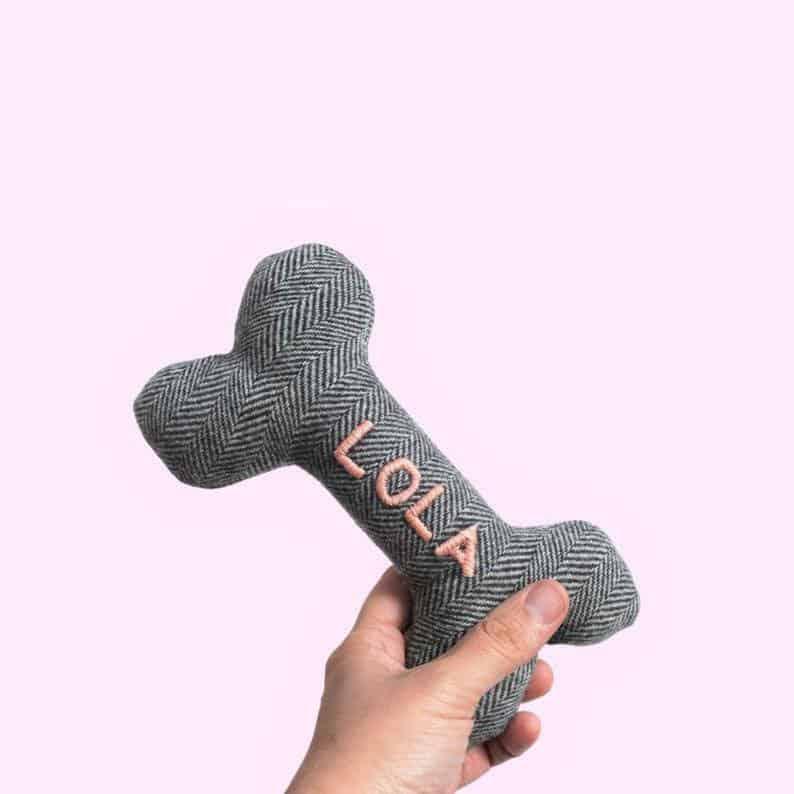 personalised dog bone toy