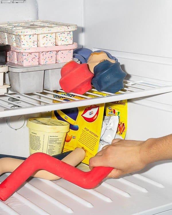 Dog chew toys in a freezer next to ice cream