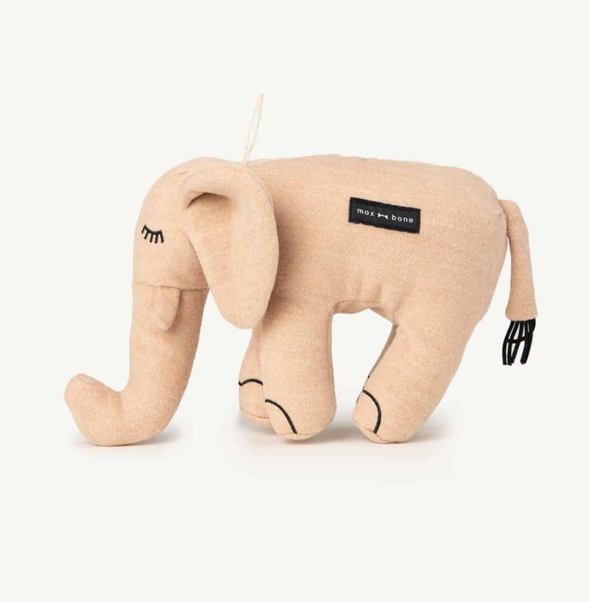 Pink elephant plush toy for dogs